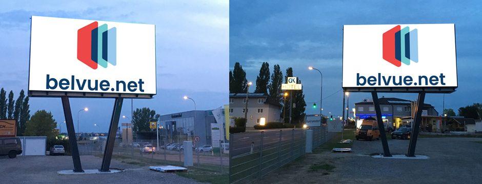 LED Videowall Werbung DOOH Kampagnen Guntramsdorf B17, Niederösterreich, Österreich bei belvue.net Videowall Netzwerk