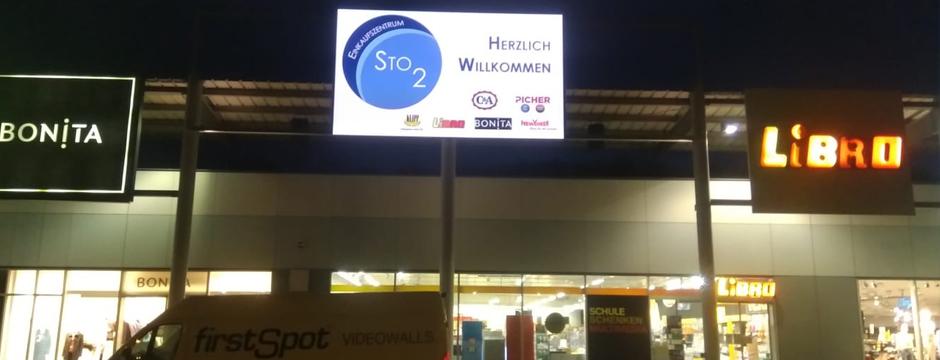 Videowall Werbung Einkaufszentrum Stoob Mittelburgenland